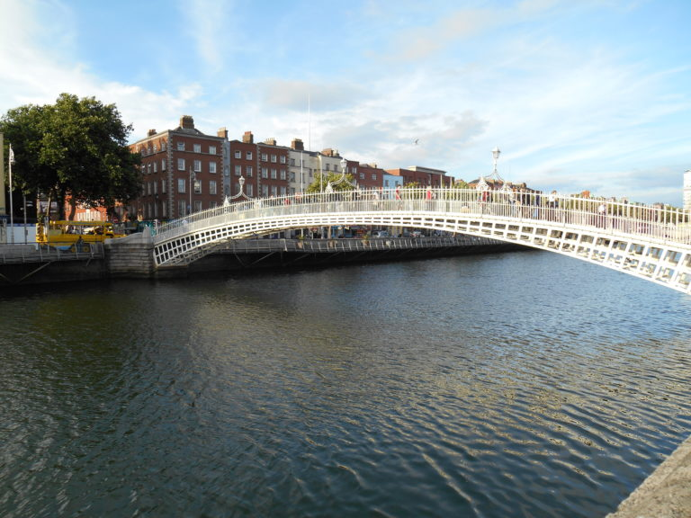 The Ha'penny Bridge crossing the Liffey River in Dublin Ireland.  Built in 1816.