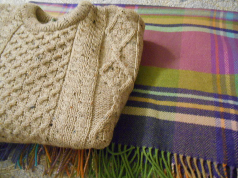 Wool sweater and wool shawl/lap blanket
