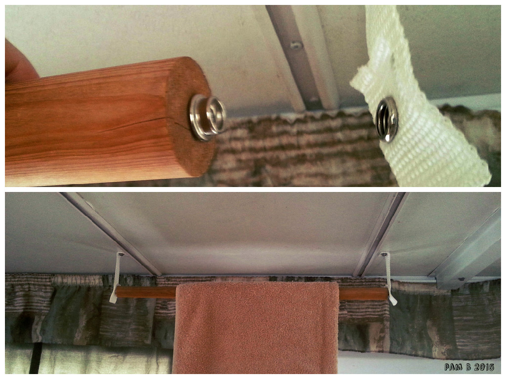 Indoor towel rack that uses the straps and snaps that hold the door to the ceiling when stored.