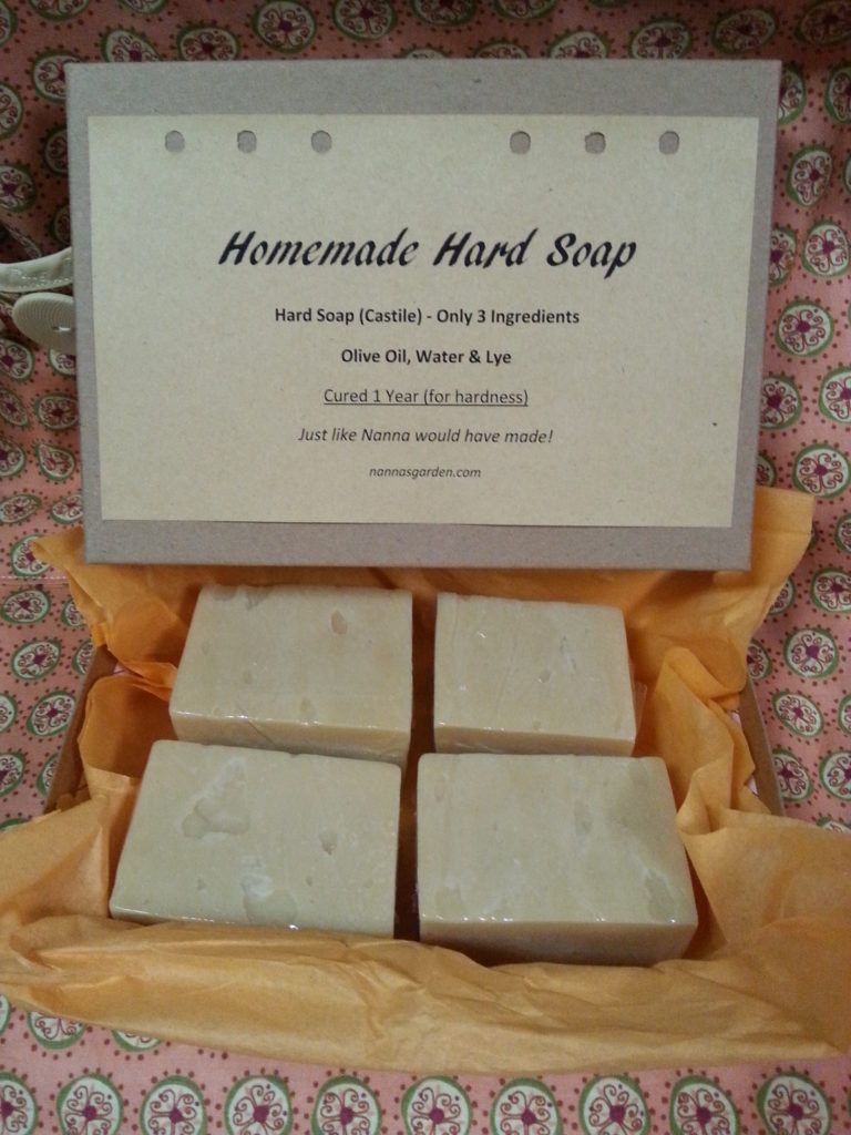 Homemade Hard Soap Hard Soap (Castile) - Only 3 Ingredients Olive Oil, Water & Lye Cured 1 Year (for hardness) Just like Nanna would have made! nannasgarden.com