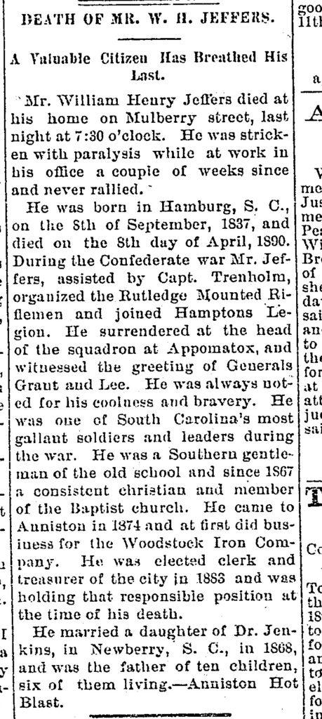 WH_Jeffers_Obit_Jacksonville_Republican_1890
