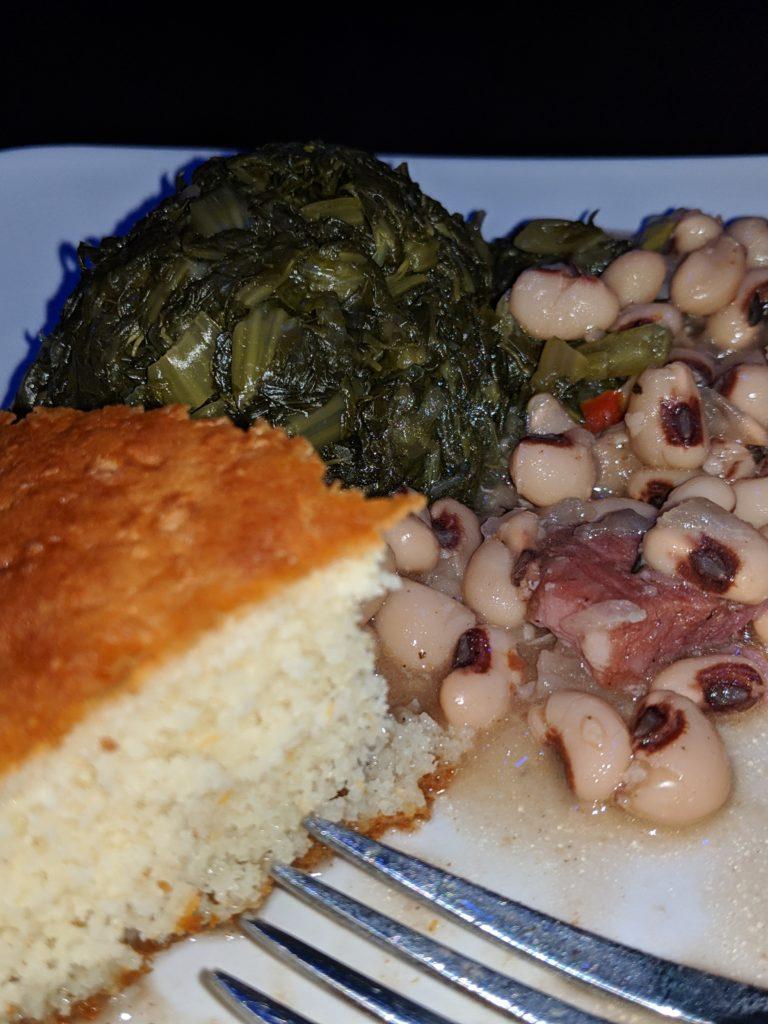 Bean, greens and cornbread